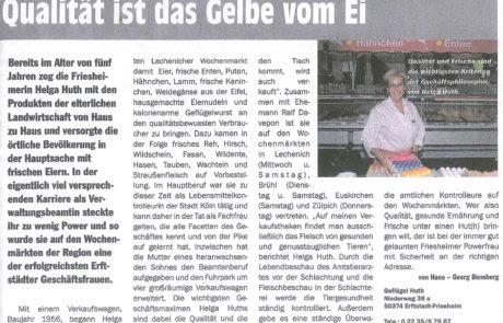 Presseartikel Geflügel Helga Huth Davepon Erftstadt